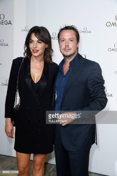 at the evening gala of the jewelery Omega Noémie Elbaz and her husband Davy Sardou are photographed for Paris Match on september 29 2017 in Paris...