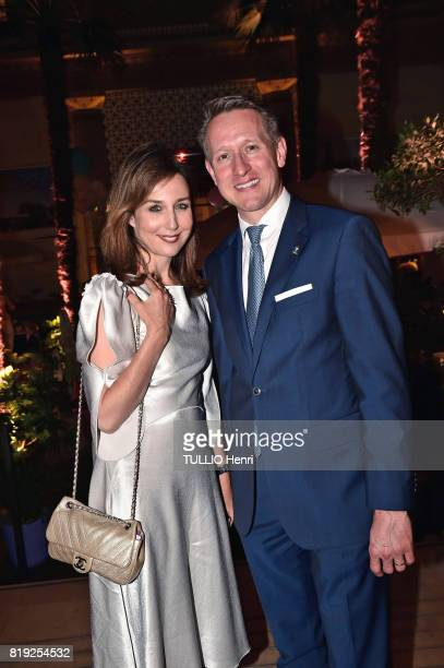 at the evening gala Palm Springs 60's at the Hotel Prince de Galles Elsa Zylberstein and Gerard Krischek pose for Paris Match on june 15 2017 in...