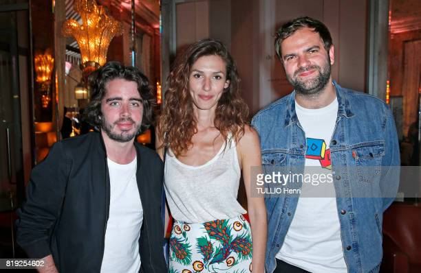 at the evening gala Palm Springs 60's at the Hotel Prince de Galles Eric Metzger Doria Tillier and Quentin Margot pose for Paris Match on june 15...