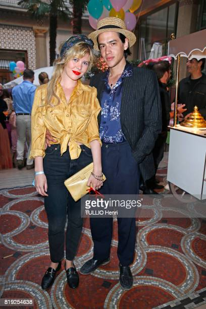 at the evening gala Palm Springs 60's at the Hotel Prince de Galles Lou Lesage and Arthur Jacquin pose for Paris Match on june 15 2017 in Paris France