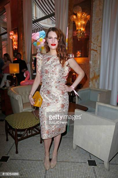 at the evening gala Palm Springs 60's at the Hotel Prince de Galles Elodie Frege poses for Paris Match on june 15 2017 in Paris France