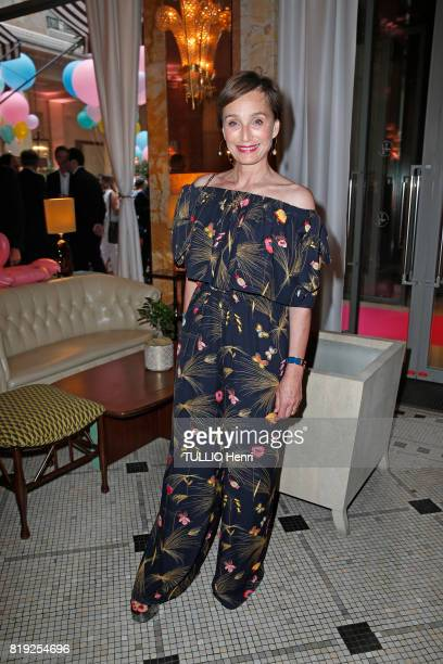 at the evening gala Palm Springs 60's at the Hotel Prince de Galles Kristin Scott Thomas poses for Paris Match on june 15 2017 in Paris France