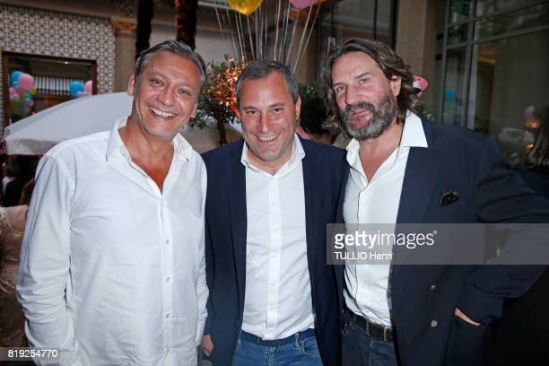 at the evening gala Palm Springs 60's at the Hotel Prince de Galles Valery Zeitoun Benjamin Patou and Frederic Beigbeder pose for Paris Match on june...