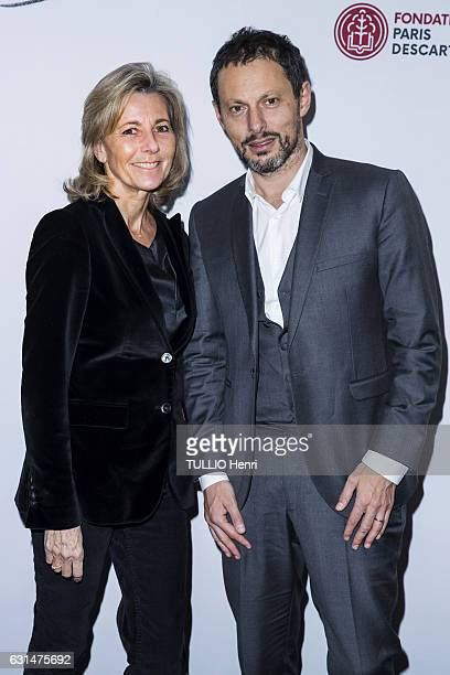 at the evening gala Sauver la vie of the Foundation Paris Descartes Claire Chazal and MarcOlivier Fogiel pose for Paris Match on november 30 2016 in...
