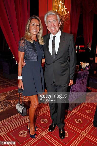 at the evening of the Foundation Care France in Deauville Casino Gilbert Coullier with his wife Nicole pose on august 29 2015 in Deauville France