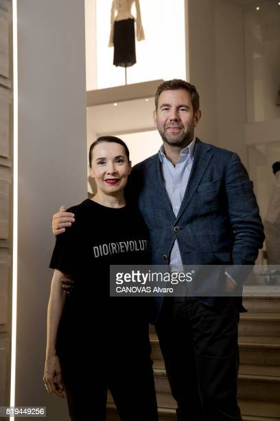 at the exhibition 'Christian Dior Celebrates 70 Years of Creation' at the Musee des Arts Florence Muller curator of the exhibition with Olivier Gabet...