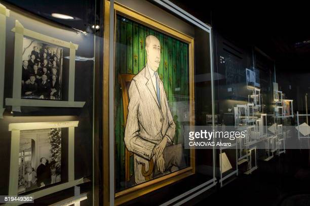 at the exhibition 'Christian Dior Celebrates 70 Years of Creation' at the Musee des Arts a painting by Christian DIOR painted by Bernard Buffet on...