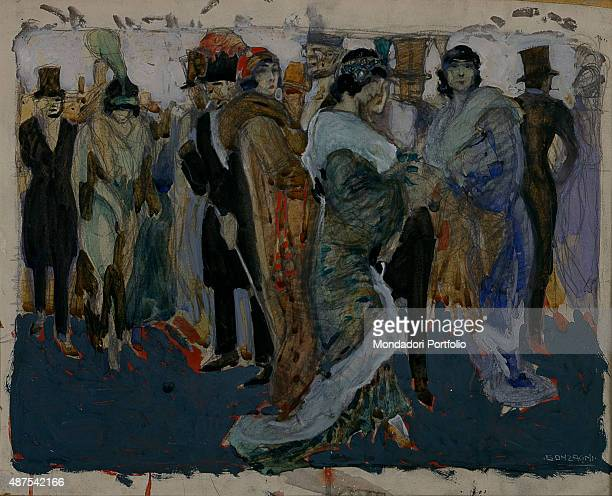 At the Exit of La Scala by Aroldo Bonzagni 20th Century mixed technic on paper Italy Lombardy Milan Gallery of Modern Art Whole artwork view The...