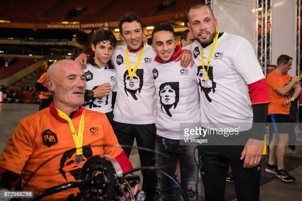 at the finish of the Cruyff Foundation 14K Run Abdelhak Nouri John Heitingaduring Cruyff Foundation 14K Run at the Amsterdam Arena on April 25 2017...