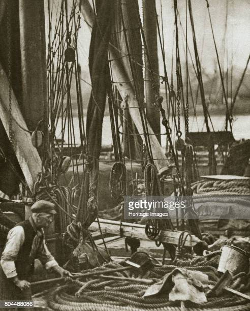 At the foot of the mast on a Thames Barge London 20th century