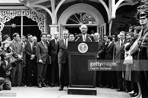At the Glassboro Summit Conference American President Lyndon Baines Johnson speaks from a lecturn with him is Soviet Premier Alexey Kosygin Glassboro...