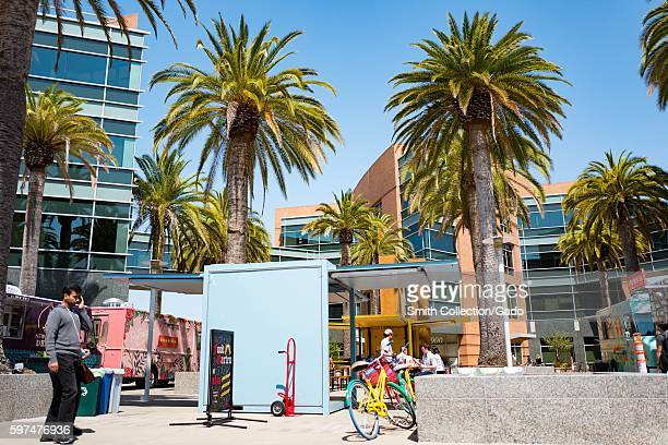 At the Googleplex headquarters of the search engine company Google in the Silicon Valley town of Mountain View California a colorful Google Bike is...