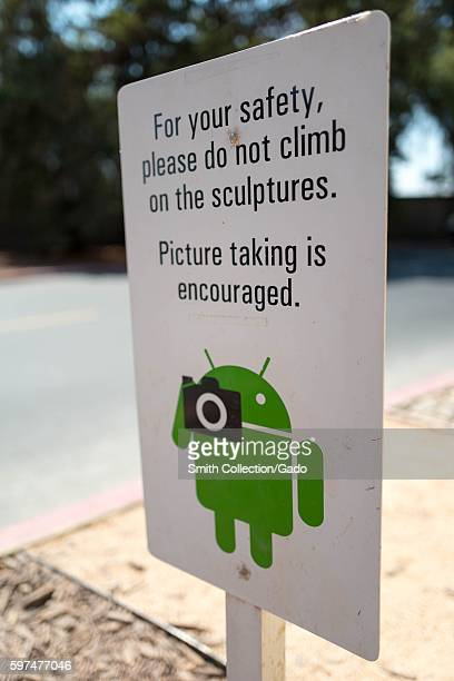 At the Googleplex headquarters of the search engine company Google in the Silicon Valley town of Mountain View California a sign encourages visitors...