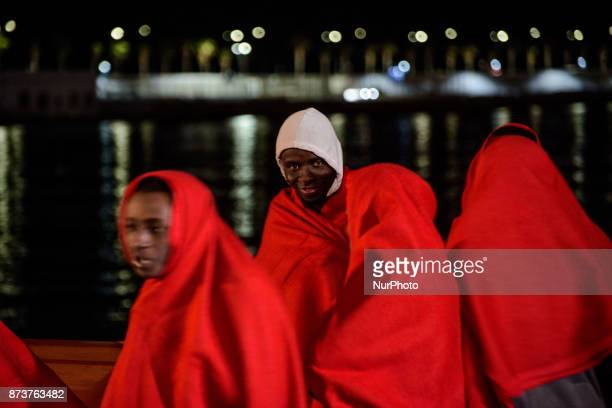At the harbour of Malaga South of Spain a Spanish rescued boat with migrants onboard On 11 November 2017 in Malaga Spain On saturday night the Port...