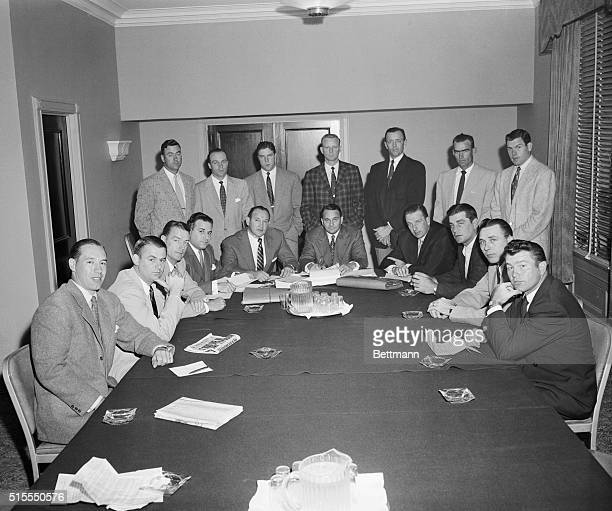 At the Hotel Biltmore Major League ball players are shown as they perepared to get started on a closed 'strategy' session with their attorney J...