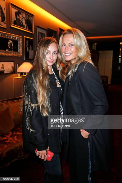 at the inauguration evening of the Hotel Barriere Le Fouquet's Emma Smet and Estelle Lefebure are photographed for Paris Match on september 14 2017...