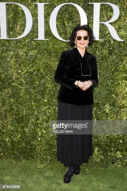 at the Inauguration of the exhibition 'Christian Dior Celebrates 70 Years of Creation' at the Musee des Arts Bianca Jagger on july 03 2017 in Paris...