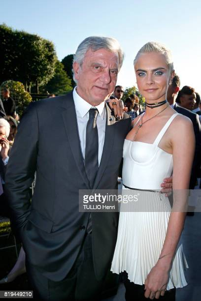 at the Inauguration of the exhibition 'Christian Dior Celebrates 70 Years of Creation' at the Musee des Arts Sidney Toledano and Cara Delevingne on...