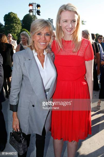 at the Inauguration of the exhibition 'Christian Dior Celebrates 70 Years of Creation' at the Musee des Arts Brigitte Macron and Delphine Arnault on...