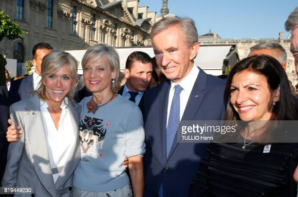 at the Inauguration of the exhibition 'Christian Dior Celebrates 70 Years of Creation' at the Musee des Arts Brigitte Macron Helene Arnault Bernard...