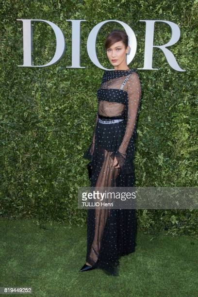 at the Inauguration of the exhibition 'Christian Dior Celebrates 70 Years of Creation' at the Musee des Arts Bella Hadid on july 03 2017 in Paris...