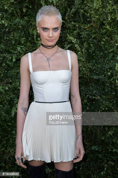 at the Inauguration of the exhibition 'Christian Dior Celebrates 70 Years of Creation' at the Musee des Arts Cara Delevingne on july 03 2017 in Paris...