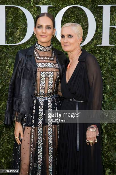at the Inauguration of the exhibition 'Christian Dior Celebrates 70 Years of Creation' at the Musee des Arts Maria Grazia Chiuri and her daugther...