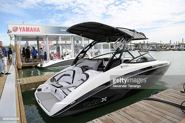 X at the marina at the Miami International Boat Show on February 11 2016 in Miami Florida