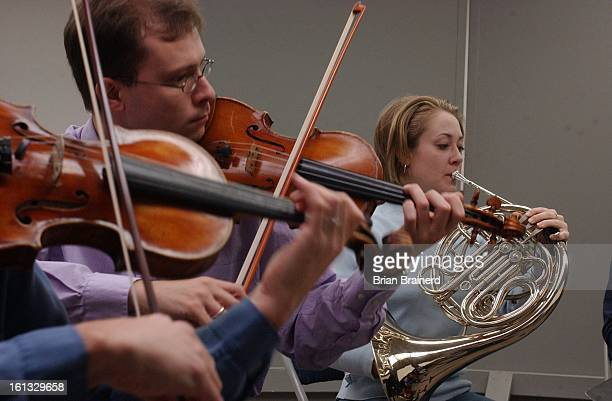 At the Musicians Union 1165 Delaware Colorado symphony members rehearse Schubert's Octet for a December 4th concert at the Boulder Public Library...