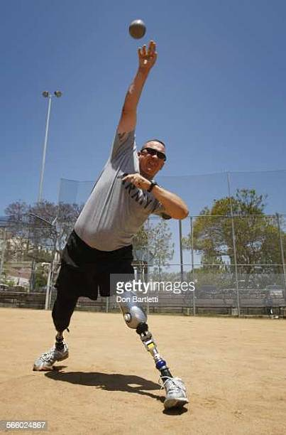 DIEGO CA At the Naval Medical Center San Diego Sgt 1st Class Jacque Keeslar practices the shot put in preparation for competition in the Warrior...