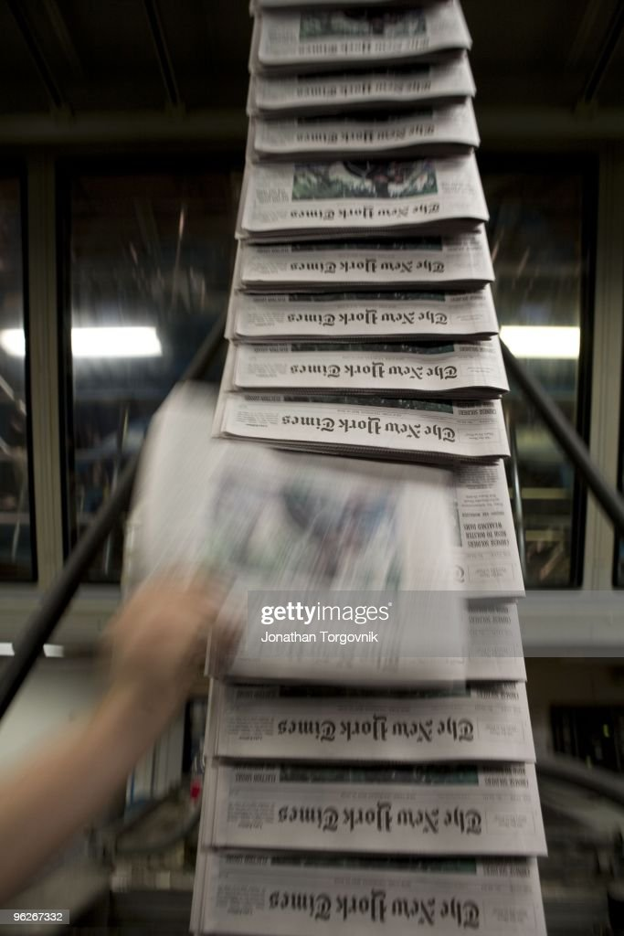 At the printing plant of the New York Times in College Point Queens on May 2008 in New York City Page one starts printing around midnight and the...