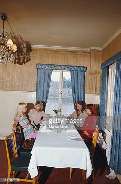 ABBA at the restaurant with AnniFrid Lyngstad and her husband Benny Andersson Agnetha Faltskog and her husband Bjorn Ulvaeus