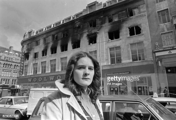 At the scene of her ordeal 16 year old Julie Stanfield who was rescued by firemen after being trapped behind the barred windows of the second floor...
