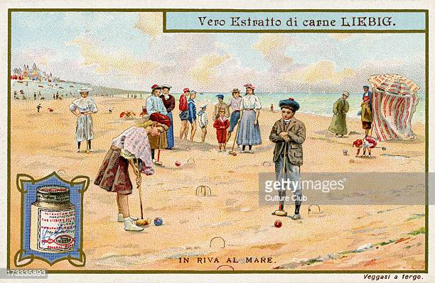 Playing Croquet Illustration of 1910 Liebig Collectible Card