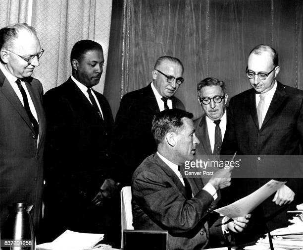 At the signing were from left Bill Long secretary of the Colorado Press Association State Sen George Brown DDenver who sponsored the bill William...
