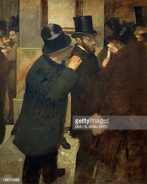 At the stock exchange 18781879 by Edgar Degas oil on canvas 100x82 cm Paris Musée D'Orsay