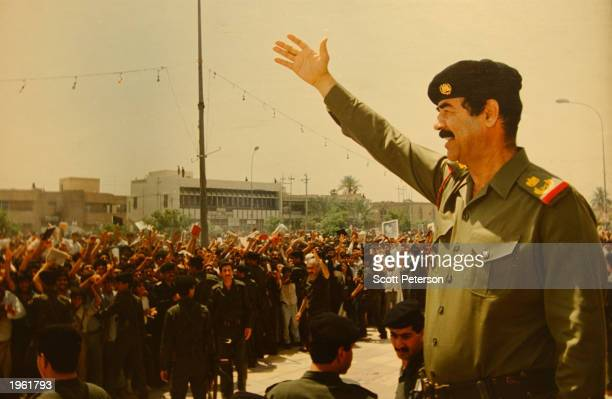 At the 'Triumph Leader Museum' which glorifies the life of Iraqi leader Saddam Hussein a photo showing Saddam Hussein greeting his people is...