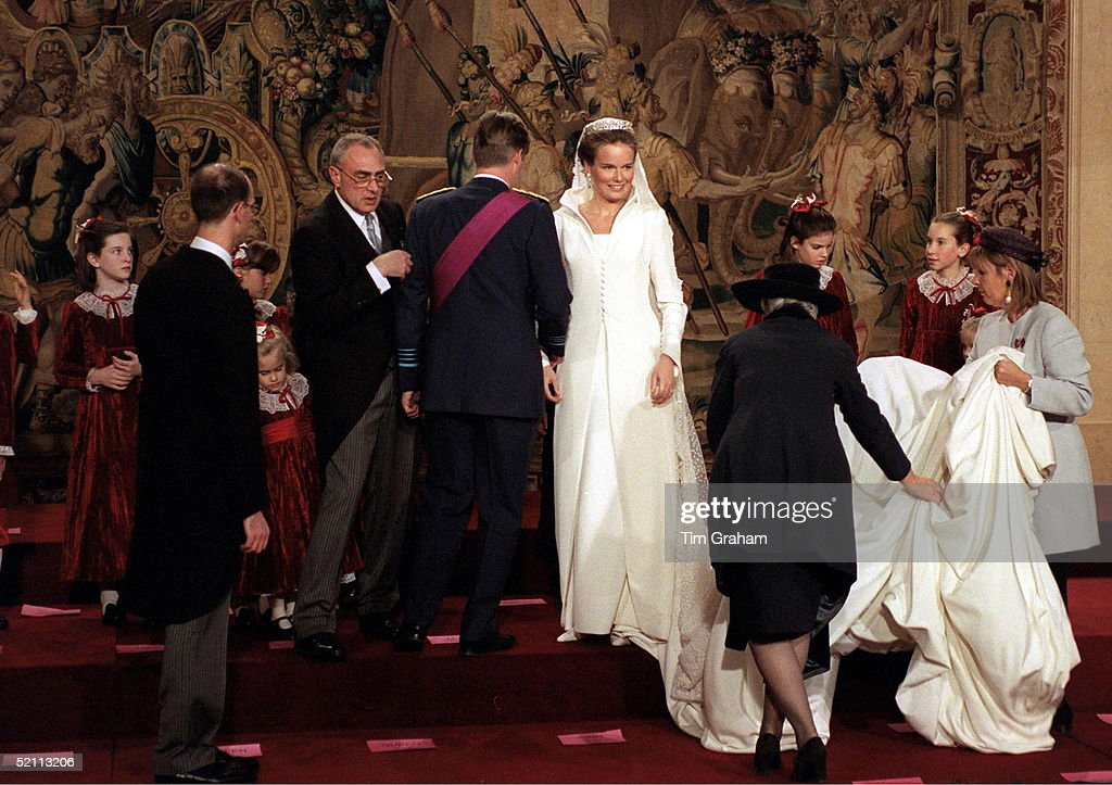 At The Wedding Of Prince Philippe Of Belgium And Miss Mathilde D'udekem D'acoz Lots Of Help With Arranging Her Veil And Train