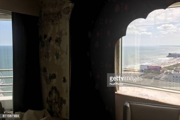 At Trump Taj Mahal Casino and Resort in Atlantic City New Jersey patches of mildew appear behind a hotel bed in some of rooms as several floors are...