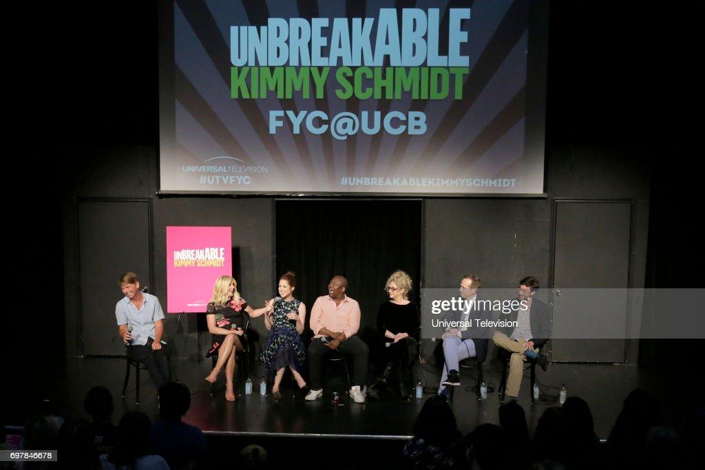 SCHMIDT -- 'FYC at UCB' -- Pictured: (l-r) Jack McBrayer, Moderator; Jane Krakowski, Ellie Kemper, Titus Burgess, Carol Kane, Robert Carlock, Executive Producer; Sam Means, Co-Executive Producer --