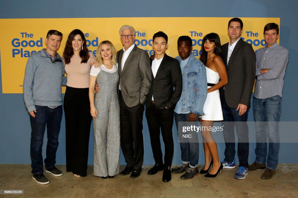 PLACE -- 'FYC at UCB' -- Pictured: (l-r) Michael Schur, Executive Producer; D'Arcy Carden, Kristen Bell, Ted Danson, Manny Jacinto, William Jackson Harper, Jameela Jamil, Drew Goddard, Executive Producer; Morgan Sackett, Executive Producer --