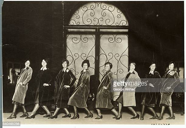 At Vassar College the velvet coat chorus of the Juniors gave the freshman a party recently Left to right are Alice Platt Poughkeepsie NY Mabel Reid...