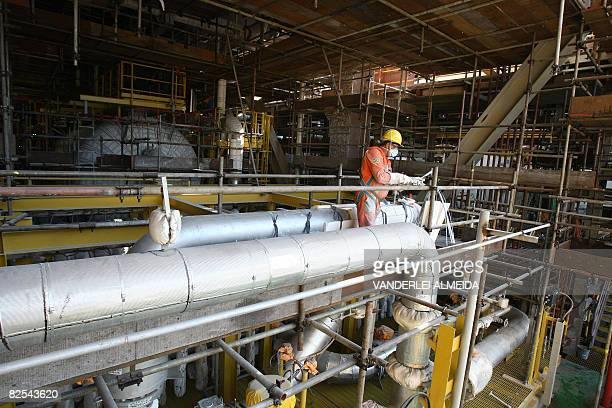 At work inside the Petrobras P51 semisubmersible offshore oil platform construction site at the Brasfelf shipyard in Angra dos Reis 180 km south of...