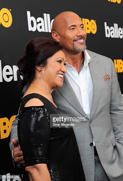 Ata Johnson and Dwayne Johnson attend the HBO Ballers Season 2 Red Carpet Premiere and Reception on July 14 2016 at New World Symphony in Miami Beach...