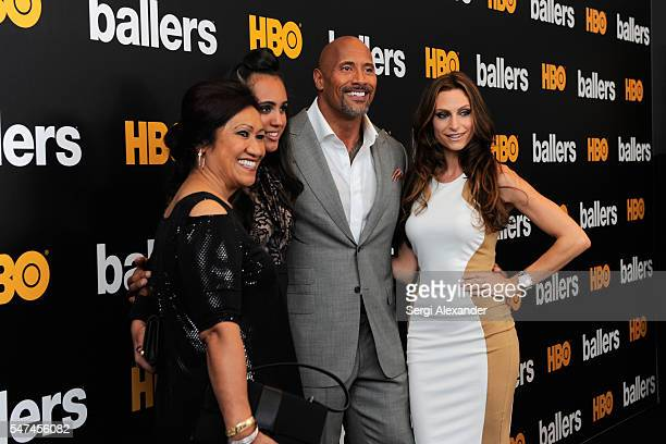 Ata Johnson Jasmine Johnson Dwayne Johnson and Lauren Hashian attend the HBO Ballers Season 2 Red Carpet Premiere and Reception on July 14 2016 at...