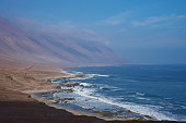 Coast of northern Chile where the Atacama Desert meets the Pacific Ocean.