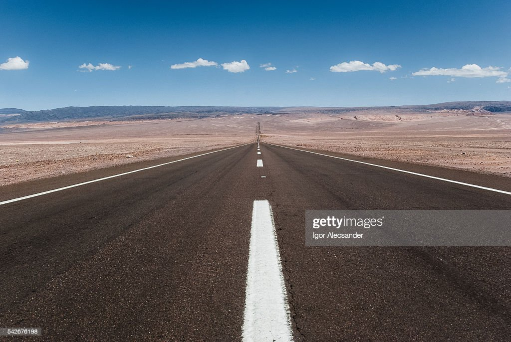 Atacama Road: vanishing poin, road CH-23, Atacama Desert, Antofagasta, Chile