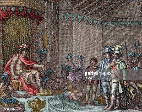 Atahualpa Inca Emperor Submission of the last Inca emperor to the spanish embassy of Francisco Pizarro led by Hernando de Soto Colored engraving 1807