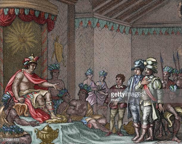 Atahualpa Inca Emperor Submission of the last Inca emperor to the spanish embassy of Francisco Pizarro led by Hernando de Soto Colored engraving 1807