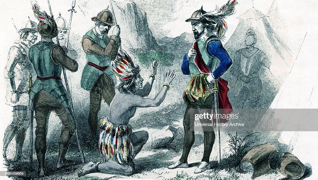 Atahualpa last Inca before the Spanish conquest Seen here kneeling before the Spanish Conquistador Pissarro during the Spanish conquest the Spaniard...